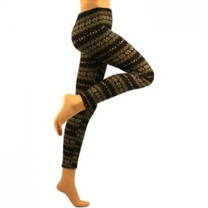 Winter Stripe Ski Warm Leggings Stretch Footless Multicolor Dk Brown Beige Small