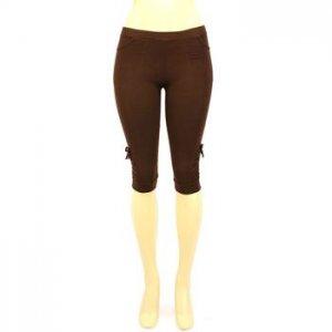 Cotton Knee Hi Capri Short Pockets Leggings Brown Small