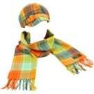 Ladies Winter Plaid Adjustable Newsboy Cap Hat Softer Cashmere Scarf Set Citrus