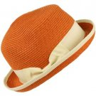 3 in 1 Flip Up Flip Down Beach Summer Bucket Cloche Fedora Packable Hat Orange