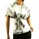 """Light Weight Spring Floral w Tassels Summer Square Scarf Shawl 38"""" x 38"""" White"""