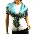 Light Weight Spring Floral w Tassels Summer Square Scarf Shawl 38 x 38 Turquoise