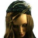 Feather Jewel Sequins Headwrap Headband Head Piece Fascinator Cocktail Cap Teal