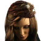 Feather Jewel Sequins Headwrap Headband Head Piece Fascinator Cocktail Cap Brown