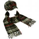 Winter Plaid Ribbon Bow Newsboy Cabbie Hat Cap Softer Than Cashmere Scarf Black