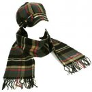 Winter Plaid Ribbon Bow Newsboy Cabbie Hat Cap Softer Than Cashmere Scarf Gray