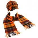 Winter Plaid Ribbon Bow Newsboy Cabbie Hat Softer Than Cashmere Scarf Orange