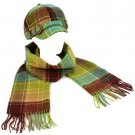 Ladies Winter Plaid Adjustable Newsboy Cap Hat Softer Cashmere Scarf Set Brown