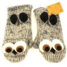 Himalayas 100% Wool Handknit Handmade Knit Mitten Lined Gloves Puppet Snow Owl