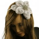 Big Fuzzy Flower Bow Sequins Satin Headband HeadPiece Fascinator Cocktail Silver