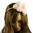 Big Fuzzy Flower Bow Sequins Satin Headband HeadPiece Fascinator Cocktail Pink