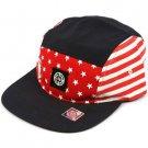 USA Flag Cotton 5 Panel Solid Biker Snapback Adjustable Cadet Cap Hat Navy