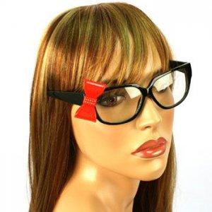 3D Ribbon Bow Fake Clear Lens Spring Hinges Cute Eyeglasses Glasses Black Red