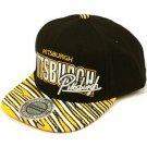 100% Cotton Pittsburgh Zubaz Snapback Adjustable Baseball Cap Hat Black Yellow