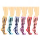 6 Pairs Sexy School Girls Long Tartan Plaid Knee High Tube Socks Cotton Set