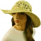 "Light Crushable Beach Summer Vented Wide 4-1/2"" Brim Floppy Sun Hat Cap Natural"