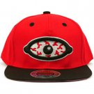 Men's Blood Shot Eye 2 Tone Snapback Adjustable Baseball Ball Cap Hat Red Black