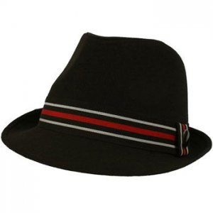 Men's Linen & Cotton Summer Stripe Band Fedora Derby Trilby Hat Black 58cm L/XL