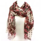 Paisley Floral Summer Frayed Long Scarf Shawl Wrap Pink