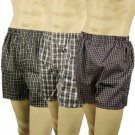Men's 3pk Plaid Blues Boxer Brief Underwear Comfort Waistband Assorted L 38-40