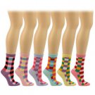 Ladies Cotton 6 Pairs Colorful Checkerd Crew Ladies Mid Calf Socks Cotton Set