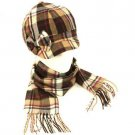 Kids Plaid Newsboy Hat Softer Cashmere Scarf? Set Brown