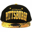 Pittsburgh Faux Snake skin Snapback Adjustable Baseball Ball Cap Hat Black Gold