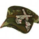 Austrian Crystal Dual Gun Stud Frayed Cool Adjustable Visor Cap Hat 57cm+ Camo