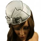 Fancy Lace Top Hat Fascinator  Headband Head Piece Hair Clip Cocktail White