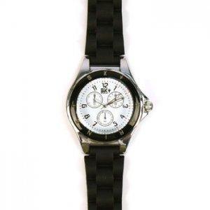 Ladies Casual 2 Tone Metal Silcone Strap Analog Wrist Watch Watches Black