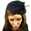 Fancy Lace Feathers Jewel Satin Headband Head Piece Fascinator Cocktail Navy