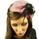 Fancy Lace Feathers Jewel Satin Headband Head Piece Fascinator Cocktail Pink