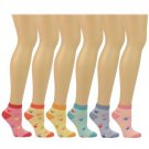 Ladies Casual Summer Spring Animal Paw Print 6 Pairs Ankle Low Socks Cotton Set
