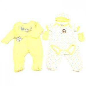 Baby Newborn Baseball Yellow 6pc set Layette Bodysuit Pants Bib Hat Mitten 0-3