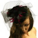 Veil Lace Feathers Hat Fascinator  Headband Head Piece Cocktail Black Violet