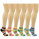 Casual Summer Spring Bright Color Stripes 6 Pairs Ankle Low Socks Cotton Set