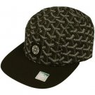 Cotton 5 Panel Boomarang Shape Snapback Adjustable Cadet Biker Cap Hat Black