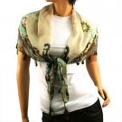 "Light Weight Spring Floral w Tassels Summer Square Scarf Shawl 38"" x 38"" Beige"