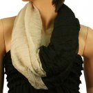 2ply 2 Tone Color Loop Tube Sheer Light Summer Spring Scarf Neckwrap Black Nude
