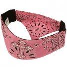 Ladies Choptop Cross & Paisley Bandana Headwrap Headscarf  Adjustable Pink