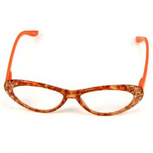2 Tone Fun Animal Print Cat Eyes Crystal Reading Glasses Eyeglasses Orange +2.75