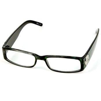 2 Tone Animal Print Metal Fleur De Lis Shield Reading Eye Glasses Green + 1.25