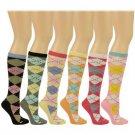 Ladies Girls 6 Pairs Summer Plaid School Girl Knee High Tube Socks Cotton Set