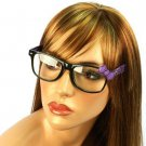 Wayfarer Ribbon Bow Animal Print Fake Clear Lens Eyeglasses Glasses Blk Purple