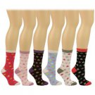 Ladies Casual Summer Spring Flowers Floral 6 Pairs Calf Crew Socks Cotton Set