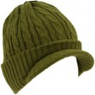 Winter 2ply Cable Knit Jeep Beanie Viisor Skull Newsboy Cabbie Ski Hat Cap Olive