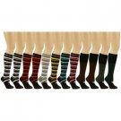 12 Pairs School Girl Dancer Stripe Yoga Knee High Open Toe Removeable Socks