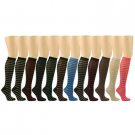 12 Pairs Socks Sexy Shiny Lurex Stripe School Girl Knee High Dancer Socks Set