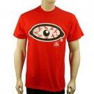 "100% Cotton Men's Blood Shot Eye Graphic Bold Tee Shirt T Shirt  Red L Chest 42"""