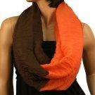 2ply 2 Tone Color Loop Tube Sheer  Summer Spring Scarf Neckwrap Orange Brown